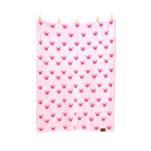 "Gestrickte Babydecke ""La Petite Princesse"" - Edition rosa in Geschenkverpackung"