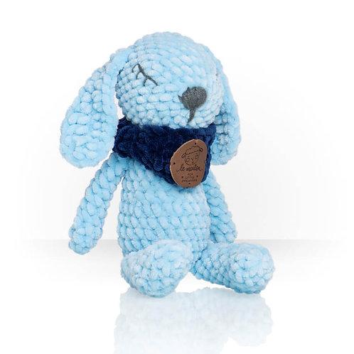 Handmade Kuscheltier - Hase Louis - Farbe blau in Geschenkverpackung