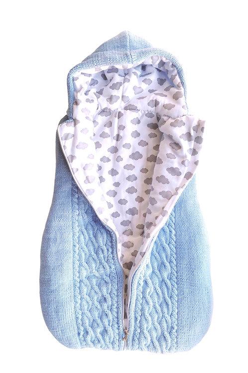 """Handmade gestrickte Einschlagdecke """"Petit ange"""" french blue"""