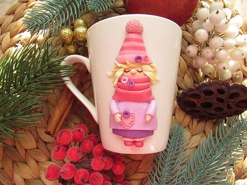 "Handmade Tasse ""Pink love"" in Geschenkverpackung"