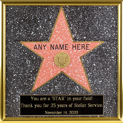Personalized Hand-Painted Framed Walk of Fame Star + Large Engraved Plaque