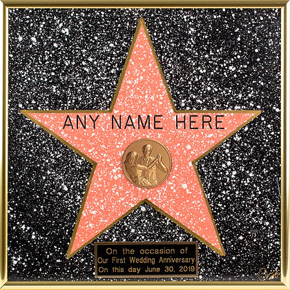 Personalized Hand-Painted Framed Walk of Fame Star + Small Engraved Plaque