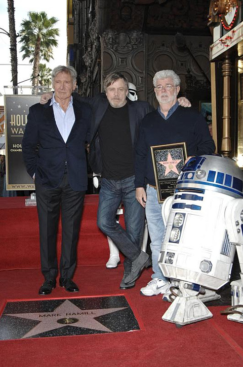 Harrison Ford, Mark Hamill, George Lucas