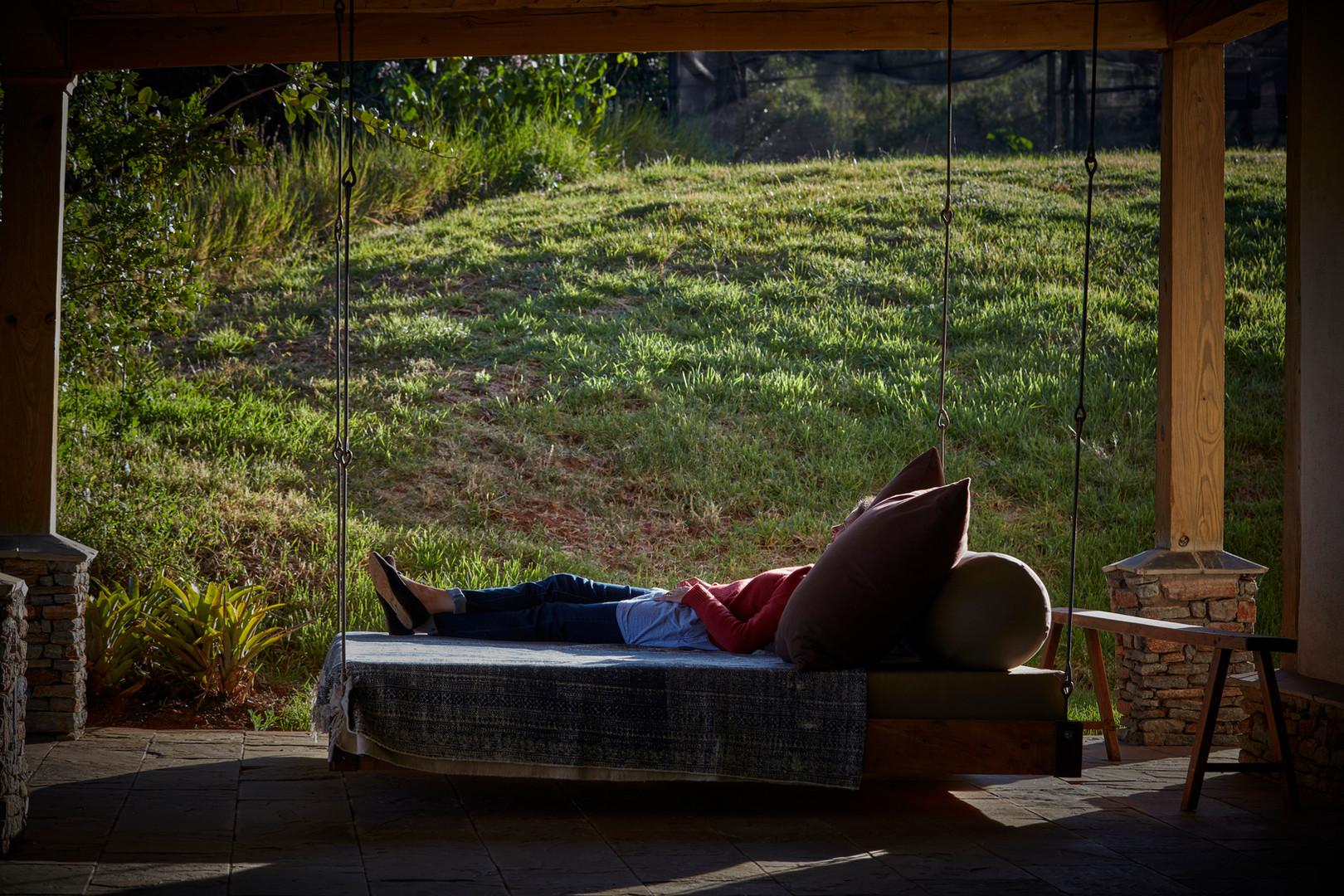Bedroom verandah swing bed