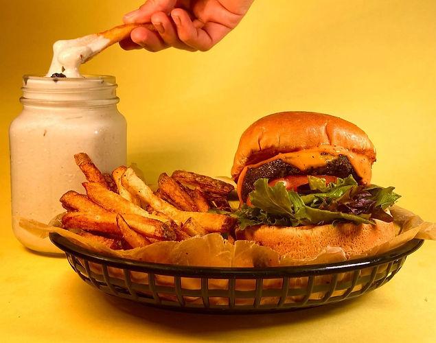 eden burger, fries, shake