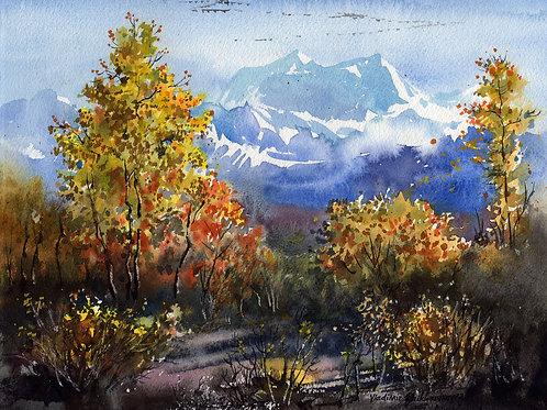 Vladimir Zhikhartsev FALL ON DENALI HWY original watercolor  unframed
