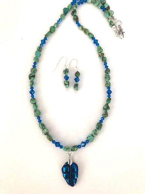 Hilda Melchior - Blue Hemalite Leaf N&E - hemalite, turquoise, Swarovski crystals