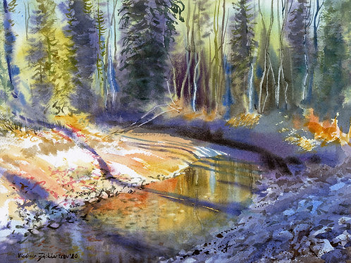 Vladimir Zhikhartsev OLSON AREA CREEK, ALASKA original watercolor