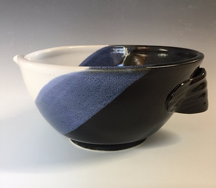 Shirley Odsather - Batter Bowl with black, white and blue glazes - Wheel Thrown Porcelain