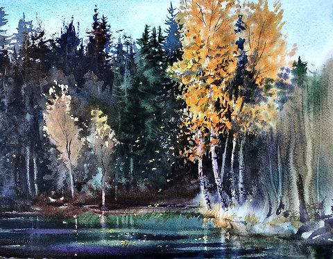 "Vladimir Zhikhartsev FALLING LEAVES. LOWER CHATANIKA original watercolor on paper, 10.5""x14.5"",unframed"