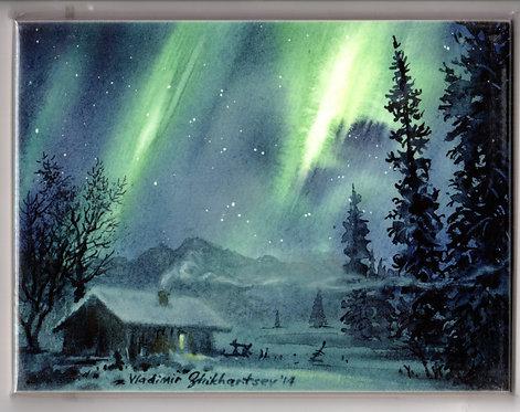 "V28 Vladimir Zhikhartsev #87 AURORA, ALASKA, 6""x8"" Sublimation tile/trivet"