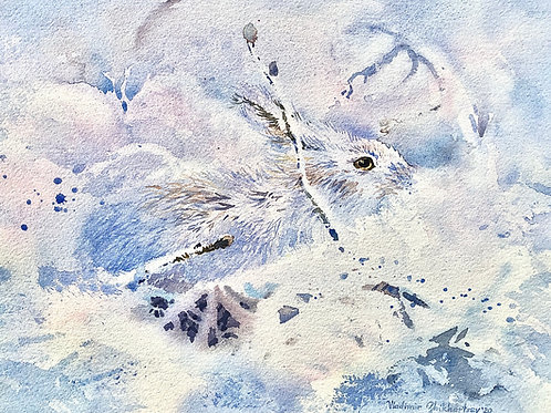 Vladimir Zhikhartsev IN THE STICKS original watercolor(unframed)