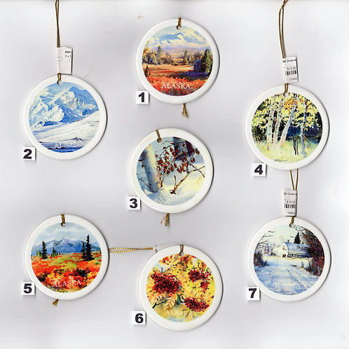 """Vladimir's X-MAS ORNAMENTS from #1 to #7, double sided ceramic ornament, 3""""x3"""""""