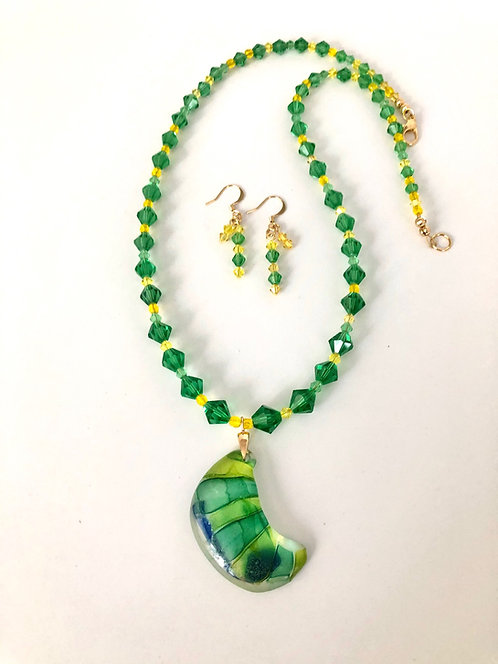 Hilda Melchior - GreenYellow - hand made glass and Swarovski crystals necklace & earrings