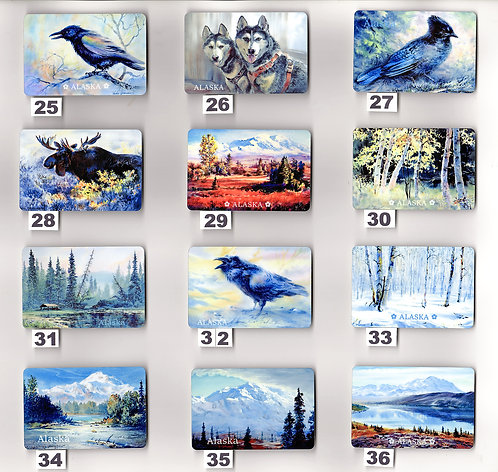"V17 Vladimir's ART MAGNETS from #25 to #36 - metal prints 2""x3"""