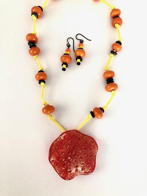Hilda Melchior - Bumpy Orange Glass, satin, wood, niobium