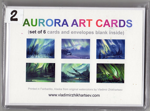 AURORA ART CARDS set#2 with 6 cards and envelopes(blank inside)