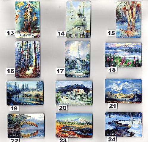 "Vladimir's ART MAGNETS from #13 through #24 metal print 2""x3"""