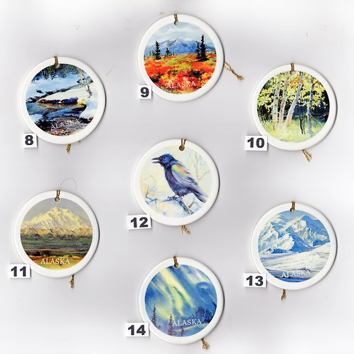"""Vladimir's X-MAS ORNAMENTS from #8 to #14, double sided ceramic ornament, 3""""x3"""""""