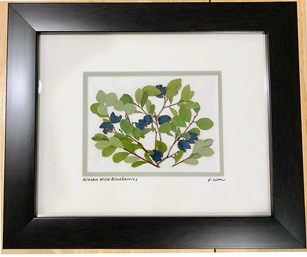 Pauline Lian-Wild Alaskan Blueberries-8 x 10-Framed-$128