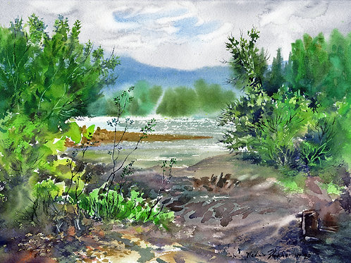 Vladimir Zhikhartsev CHENA RIVER BANKS, ALASKA original watercolor
