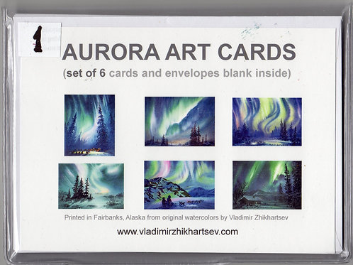 Vladimir's AURORA ART CARDS set#1 of 6 cards and envelopes(blank inside)