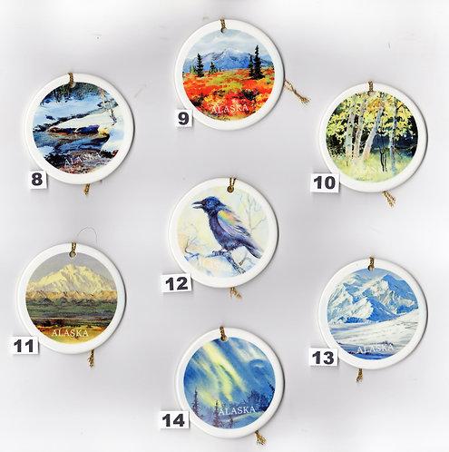 """V21 Vladimir's 8-14 ceramic X-mas Ornaments 3""""x3"""""""