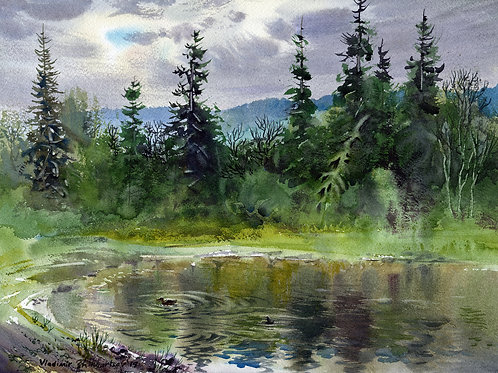 Vladimir Zhikhartsev SMITH LAKE. FAIRBANKS, ALASKA watercolor