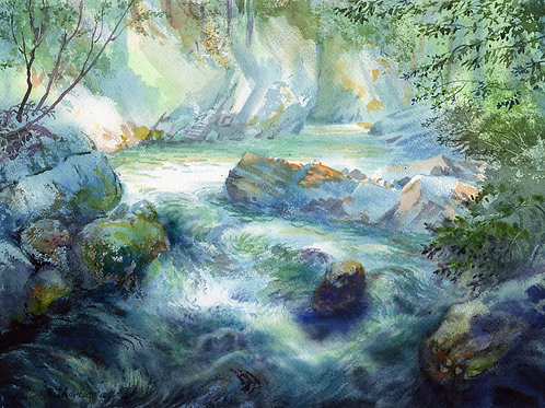 Vladimir Zhikhartsev MILLION DOLLARS CREEK, ALASKA original watercolor