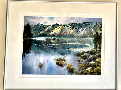 "Vladimir Zhikhartsev  HORSESHOE LAKE, DENALI watercolor, paper(framed)16""x20"""