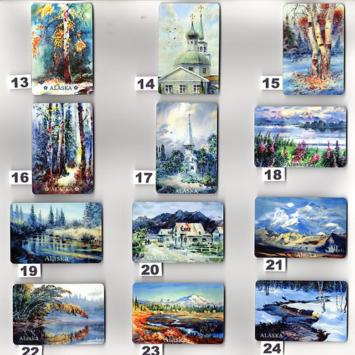 "Vladimir's ART MAGNETS from #13 to #24, sublimation print on metal, 2""x3"""