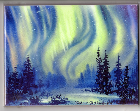 "V29 Vladimir Zhikhartsev #104 MAJESTIC ALASKA NIGHT, 6""x8"" Sublimation tile/trivet"