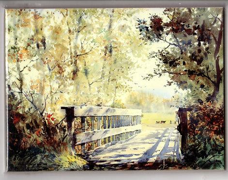 "V33 Vladimir Zhikhartsev #75 BRIDGE AT CREAMER'S FIELD, 6""x8"" Sublimation tile/trivet"