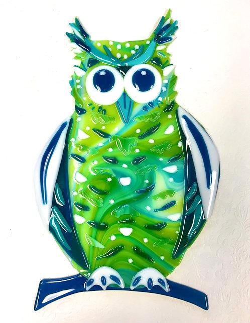 Margaret Donat - Whimsical Owl- original fused glass wall hanging