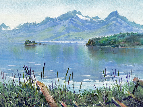 Vladimir Zhikhartsev  DOCK POINT. VALDEZ original watercolor