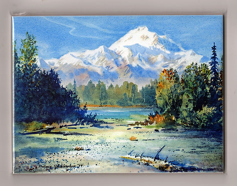 "V8 Vladimir Zhikhartsev #91 DENALI FROM TALKEETNA, 6""x8"" ceramic tile"