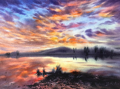 Vladimir Zhikhartsev TANANA LAKES SUNSET original watercolor, on paper, (unframed)