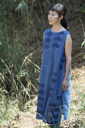 藍染浴衣ノースリーブワンピース
