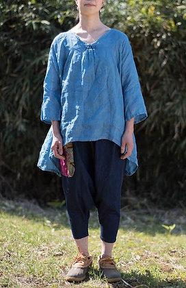 リネン素材 藍染七分袖チュニック