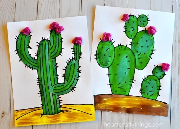 Black glue cactus craft