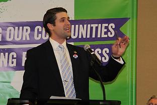 Jonathan Logemann speaking at AFSCME Rally, December 2015