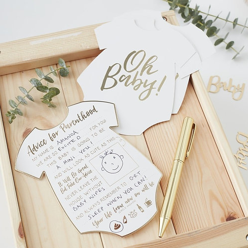 GOLD FOILED ADVICE FOR THE PARENTS CARDS - OH BABY!