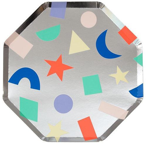 Silver Geometric Dinner Plates