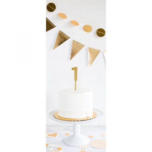 GOLD ACRYLIC NUMBER 1 CAKE TOPPER