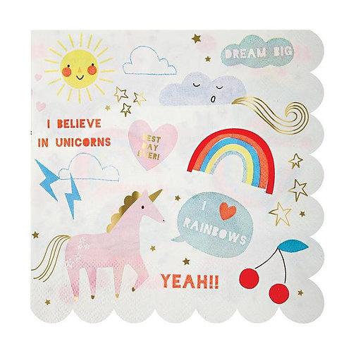 Meri Meri Rainbow & Unicorn Napkins (large)