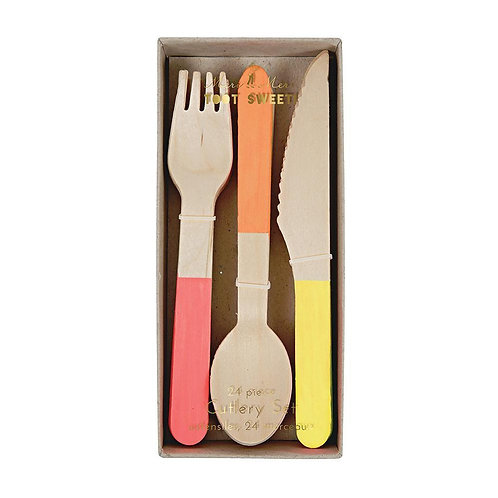 Neon Wood Cutlery Set