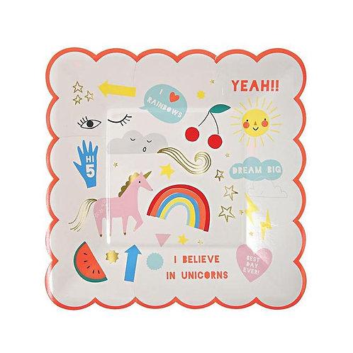 Meri Meri Rainbow & Unicorn Plates (small)