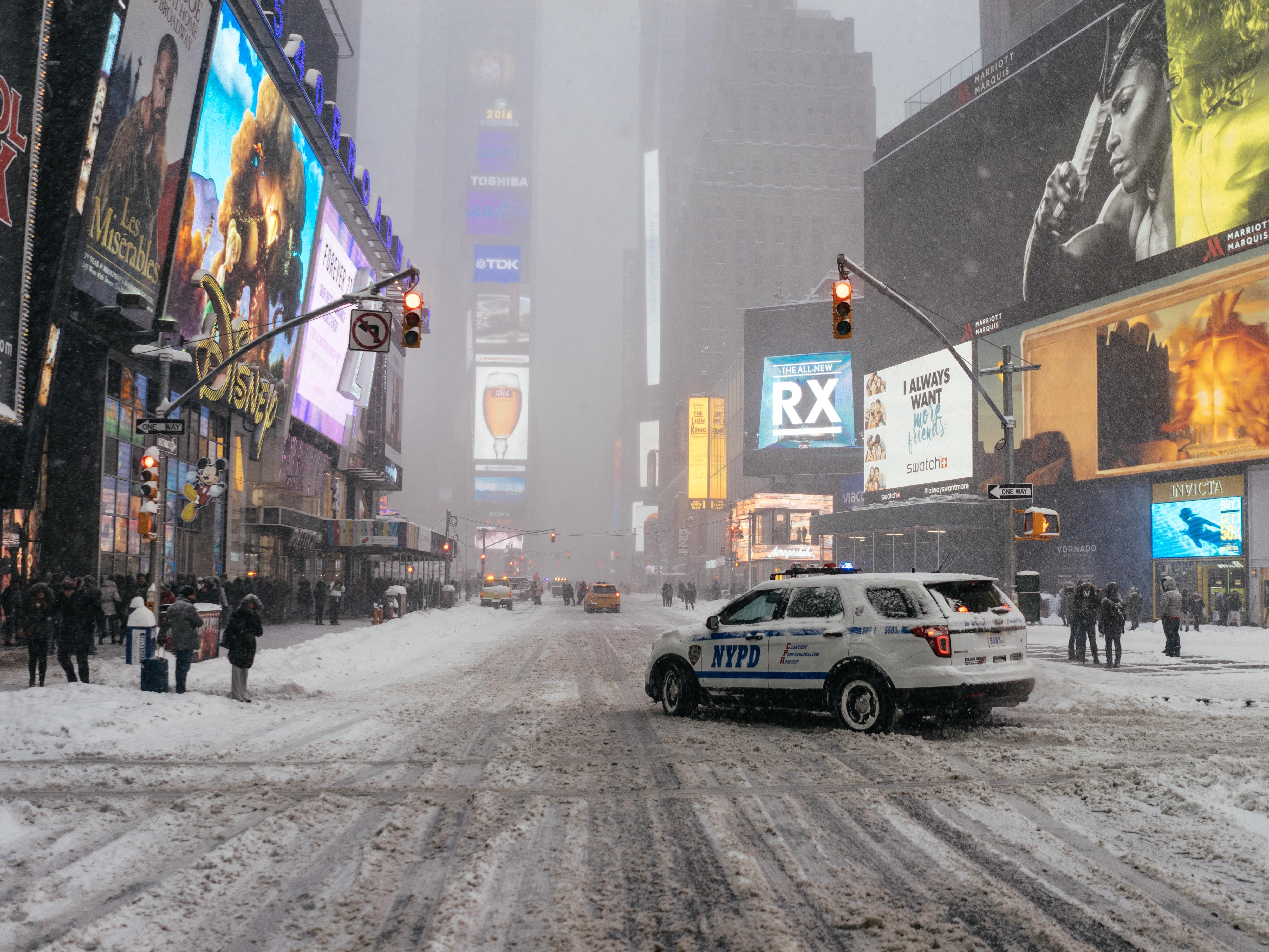 Snowstorm in Time Square