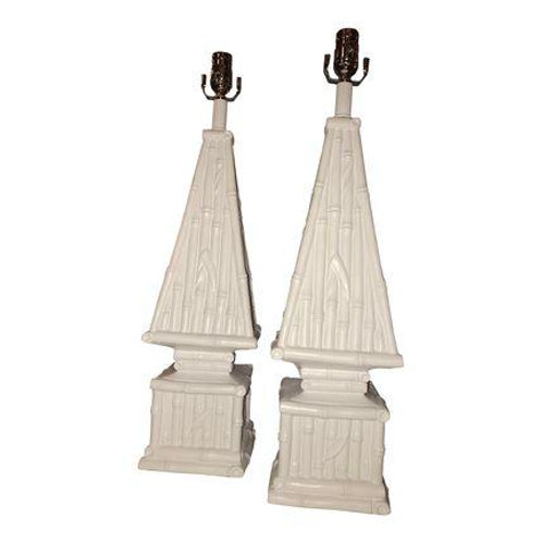 Vintage Ceramic Bamboo Obelisk Table Lamp Pair