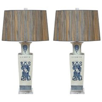 Exquisite Pair of Vintage Chinese Warrior Table Lamps w/ Custom Lampshades